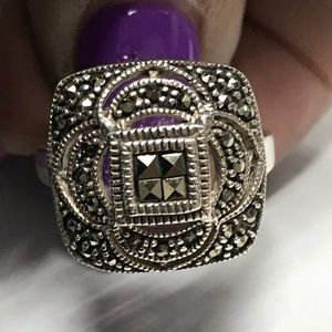 New Sterling Silver 925 Marcasite Statement Ring